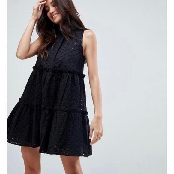 ASOS Black Sleeveless Broderie Trapeze Mini Dress